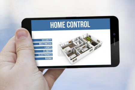 Photo for Technology and connectivity concept: hand holding a 3d generated smartphone with home remote control app app on the screen - Royalty Free Image
