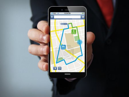 navigation application on the screen