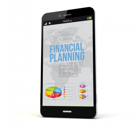 phone with financial planning on the screen