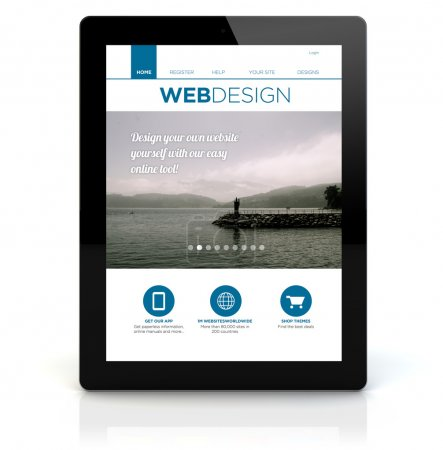 tablet pc with webdesign on the screen