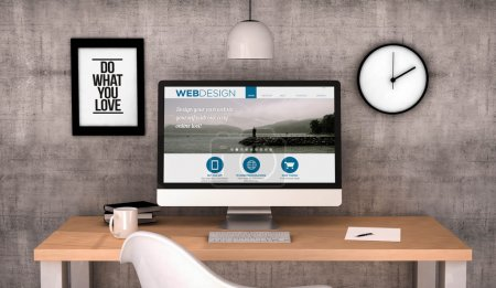 workspace computer with web design site