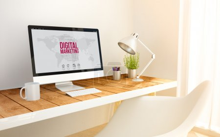 Photo for 3d generated minimalist workspace with digital marketing on computer screen and copy space - Royalty Free Image