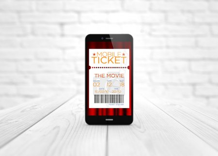 smart phone cinema e-tickets over wooden table