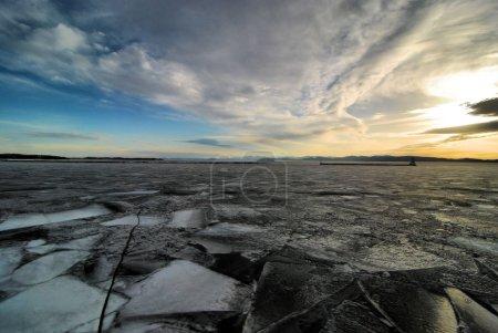 Frozen Lake Champlain in Burlington, Vermont...
