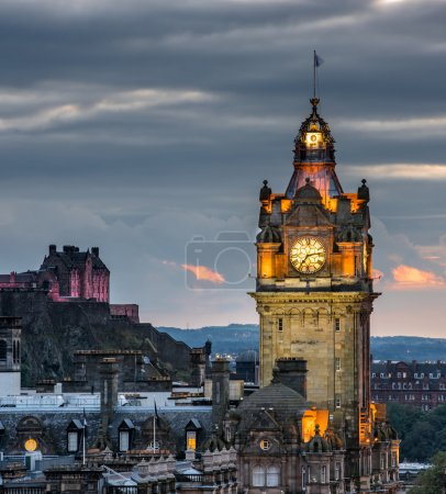 Photo for Edinburgh castle and Cityscape at night, Scotland - Royalty Free Image