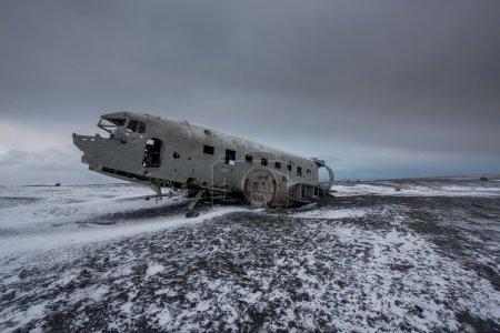 Wreck of an Aircraft in the Sandy Desert