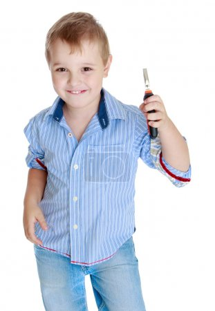 Studio portrait of a little boy.