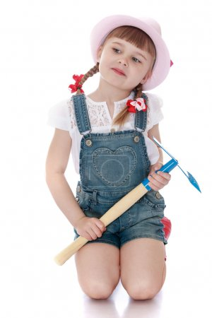 girl with garden tools