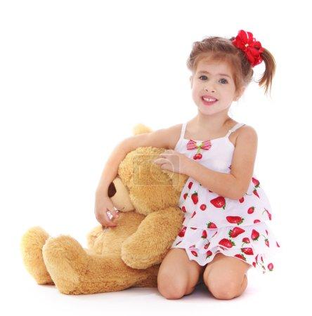 cute little girl with a teddy bear