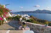 Balcony with a view, Plaka village, Milos island, Cyclades, Greece