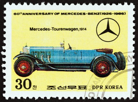 "NORTH KOREA - CIRCA 1986: A stamp printed in North Korea from the ""60th Anniversary of Mercedes-Benz "" issue shows Mercedes Tourenwagen, 1914, circa 1986."