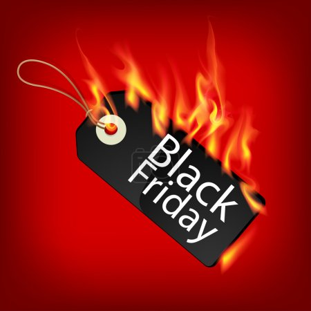 Fiery black friday sale design with Price Tag