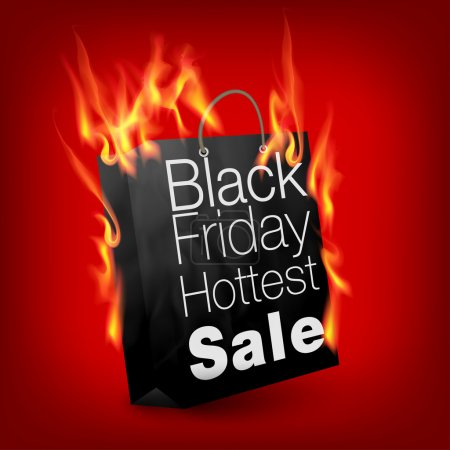 Fiery black friday sale design with shopping bag