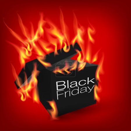 Fiery black friday sale design with box