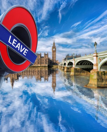 Britain votes to LEAVE European Union, Big Ben with bridge in London, England, UK