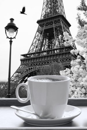 Photo for Eiffel Tower with cup of coffee in black and white style, Paris, France - Royalty Free Image