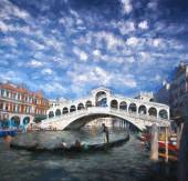 Rialto bridge in Venice, Italy, Oil painting