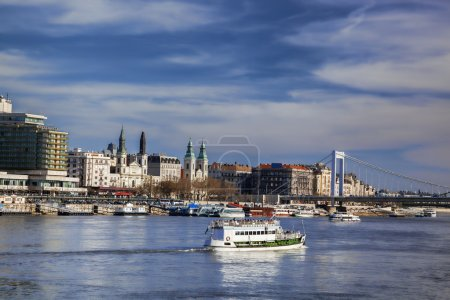 Budapest with boat on Danube river in Hungary