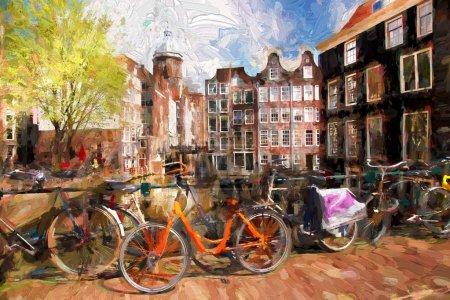 Photo pour Célèbre ville d'Amsterdam en Hollande, œuvre d'art en style peinture - image libre de droit