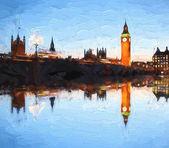 """Постер, картина, фотообои """"Биг Бен в Лондоне, Англия, Соединенное Королевство, иллюстрации стиль"""""""