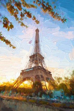 Photo pour Tour Eiffel dans le style des œuvres d'art à Paris, France - image libre de droit