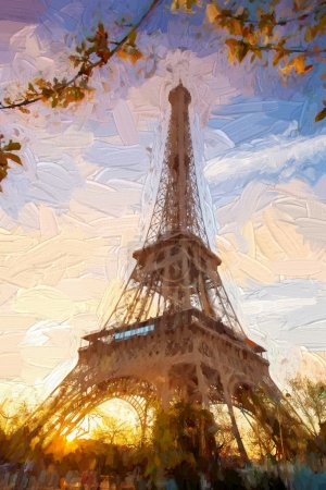 Eiffel Tower in Artwork style during spring time in Paris, France