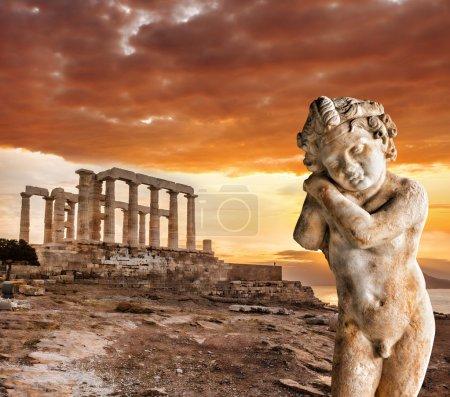 Photo pour Célèbre temple grec Poséidon, Cap Sounion en Grèce - image libre de droit