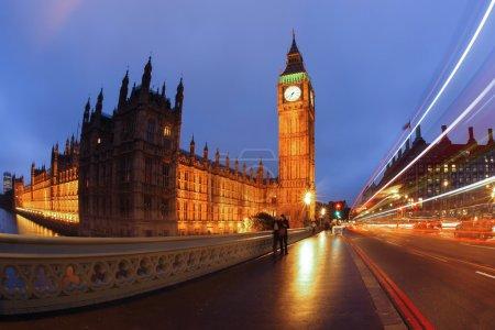 Big Ben with bridge in London, England