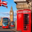 London symbols with BIG BEN, DOUBLE DECKER BUS and...