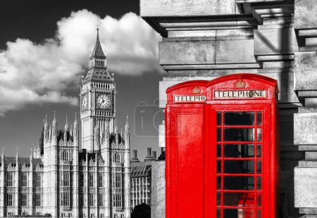 Photo for London  with BIG BEN  and red PHONE BOOTHS in England, UK - Royalty Free Image