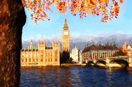 Famous Big Ben in London, England, United Kingdom, ARTWORK STYLE