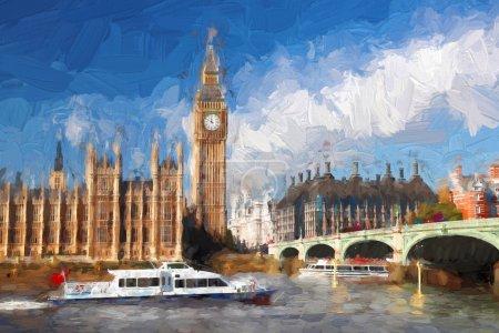 Photo pour Célèbre Big Ben à Londres, Angleterre, Royaume-Uni, ARTWORK STYLE - image libre de droit