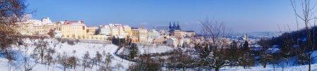 Snowy Prague gothic Castle in Czech Republic