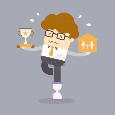 Illustration for Balance work life concept of man holding family and success on hourglass - Royalty Free Image