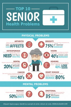 Illustration for Infographics about top 10 most found senior health problems - Royalty Free Image