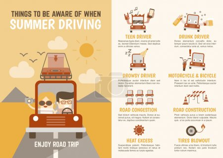 Infographics cartoon character summer driving