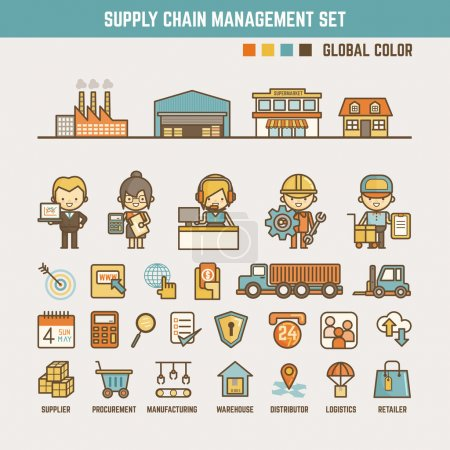 Illustration for Supply chain infographic elements for kid including characters  and icons - Royalty Free Image