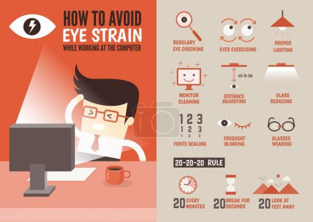 cartoon character about eyestrain prevention