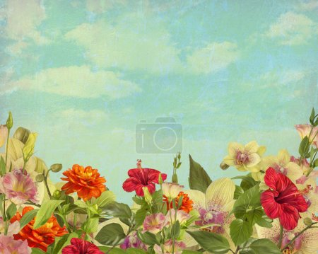 Photo for Hand painted beautiful flowers on a background of sky and clouds in vintage style - Royalty Free Image