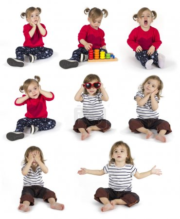 Set of baby girl sitting and making gestures