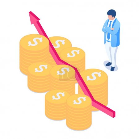 Investment growth concept. The business man looks at the upward chart and the coins. Dividends, income from shares and bonds, a profitable investment. Vector illustration in isometric style. Isolated.