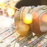 Close up of Headphones on sound mixer...