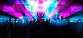 Electronic dance music festival with silhouettes of happy dancing people with raised up hands
