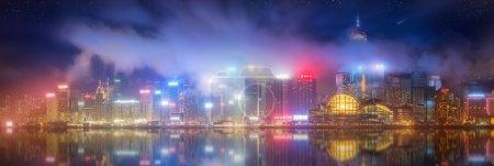 Photo pour Panorama de l'île de Hong Kong, skyline et Financial district, Chine - image libre de droit