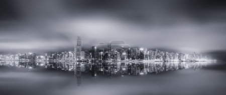 Panorama of Hong Kong, black and white