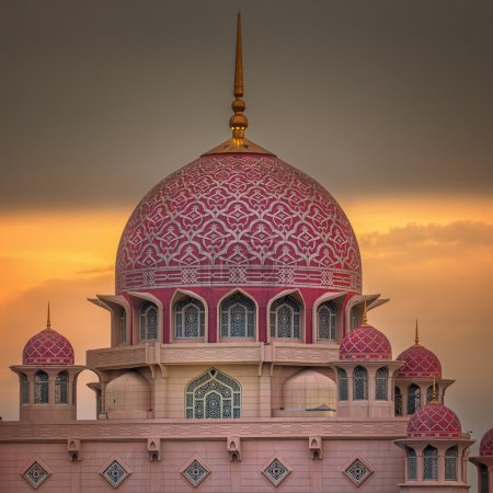 Sunset over Putrajaya Mosque and Panorama of Kuala Lumpur