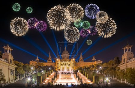 Beautiful fireworks under Magic Fountain in Barcelona