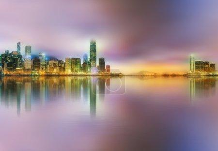 Photo pour Panorama de l'île de Hong Kong, horizon et quartier financier, Chine - image libre de droit
