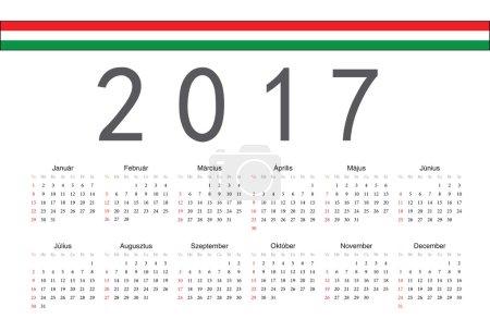 Hungarian 2017 year vector calendar