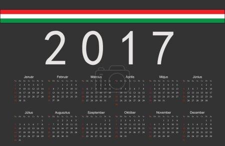 Hungarian black 2017 year vector calendar